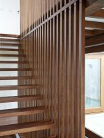wood stair with wood wall panel