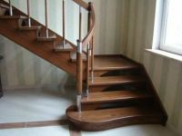 rustic wood staircase L shape