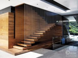 suspended wooden steps with cable railing
