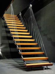 suspended stairs with cable railing