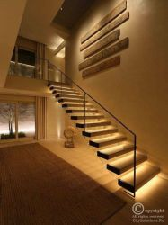 suspended stair with glass railing
